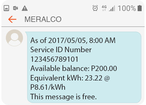 Meralco Prepaid Electricity Service Residential Daily Balance Alert