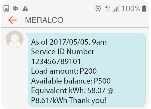 Meralco Prepaid Electricity Service Residential Load Confirmation