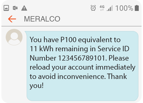 Meralco Prepaid Electricity Service Residential Low Load Alert