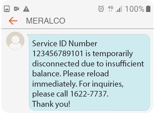 Meralco Prepaid Electricity Service Residential Notice of Disconnection